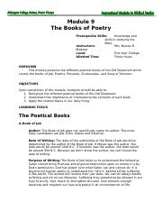 Module 9 The Books of Poetry k.doc