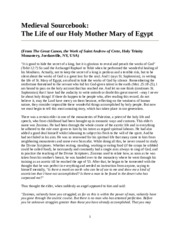 Life of St. Mary of Egypt