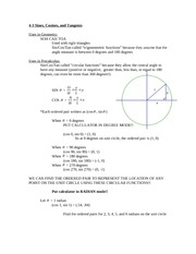 4-3 Sines, Cosines, and Tangents
