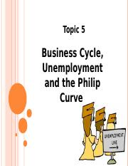 Topic 5 - BC, Unemployment and the Philip Curve