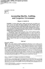 imhoff Accounting quality, auditing, and corporate governance
