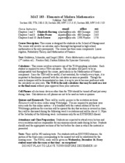 MAT183 syllabus' fall 09