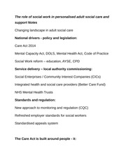 The role of social work in personalised adult social care and support Notes