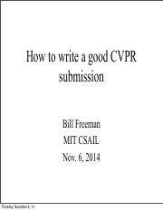 How to write a good CVPR submission