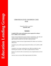 ELG High - level Business Case-updated Oct 8 2003