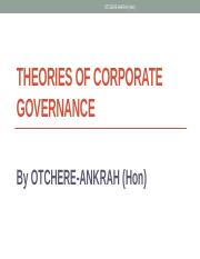 Corporate Governance - lecture 2. C.G Theories 1 pdf