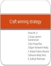 CRAFT WINNING STRATEGY SECTION 1 GROUP 4
