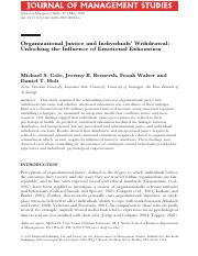 Organizational Justice and Individuals' Withdrawal Unlocking the Influence of Emotional Exhaustion.p