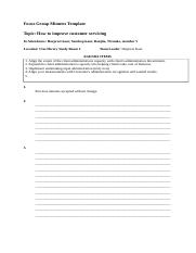 Focus Group Minutes Template