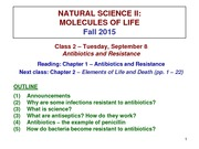CLASS 2 - Antibiotics and Resistance _CLASS NOTES F15_