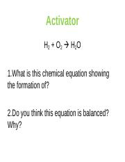 U4C1 - Balancing Chemical Equations PPT