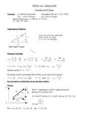 Formula Sheet for Mechanics