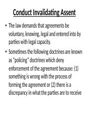 Conduct Invalidating Assent(1)