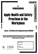 FNSICGEN304B Workbook Apply Health and Safety pratices in the workplace