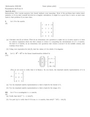 Exam E on Linear Algebra