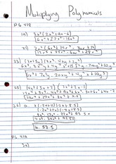 Homework, Multiplying Polynomials