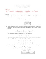 Final Exam Solution on Calculus II Fall 2008