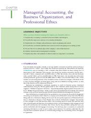 Managerial Accounting, the Business Organization, Ch1