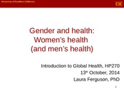 Class 13 - Gender and Health