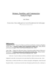 women, families, and communities analysis paper