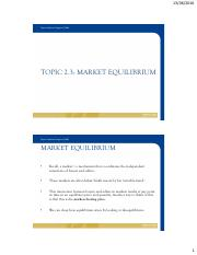 TOPIC 2.3 - MARKET EQUILIBRIUM - ST VERSION - TC