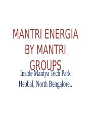 MANTRI ENERGIA BY MANTRI GROUPS