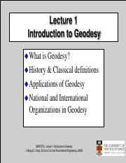 Lecture 1 Introduction to Geodesy - Classical Definition of