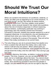 Should we trust our moral intuitions?
