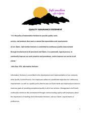Information Horizons Quality Assurance Statement (4A)