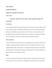 PEER REVIEW OF EXPLANATORY SYNTHESIS DRAFT