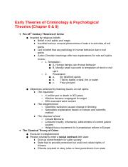 CRCJ 1000C - Chap 8-9. Early Theories of Criminology & Psychological Theories.docx