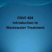 9 Introduction to Wastewater Treatment Spring 2015 KL
