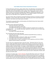 Infant Toddler Disorder Scholarly Article Review Instructions