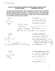 Solutions Exercise on Lewis Struct, Shape, and Polarity 2-26 09-105 S 08