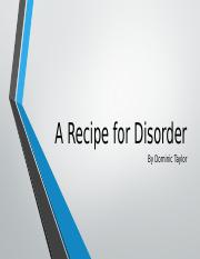 Recipe for Disorder Psych Project