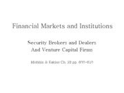 Lecture 21 - Security brokers and dealers and venture capital firms