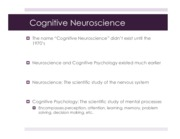 Chapter 1 (Cognitive Neuroscience)