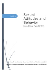 Sexual Attitudes and Behaviors Kenneth Dang pages 387