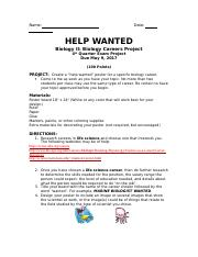 HELP WANTED BIOLOGY CAREER PROJECT.doc