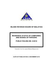 Pr 09 2019 Residence Of Companies Pdf Inland Revenue Board Of Malaysia Residence Status Of Companies And Bodies Of Persons Public Ruling No 9 2019 Course Hero