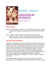 Seminar 2 - Childhood in Antiquity