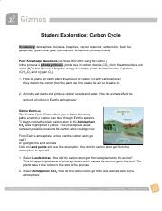 Carbon Cycle SE Gizmo.doc - Student Exploration Carbon ...