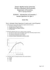 ECON101 Sample Questions for Quiz 3 Answers.pdf