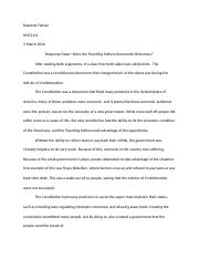 Response Paper Founding Fathers