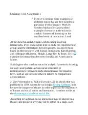 Socialogy 1111 Assignment 3