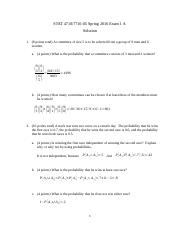 STAT 7710 Exam 1 Version A Solution