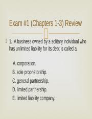FIN3300 Midterm Exam (Chapters 1-3) Review