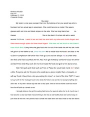 my sis character essay  drft 1