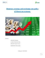 Monetary strategy and exchange rate policy of Moroccan economy.docx