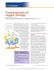 Fundamentals of oxygen therapy